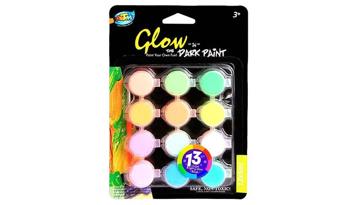 Artoys Acrylic Paint Glow In The Dark 12 Colors